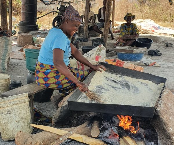 Traditional garri frying method